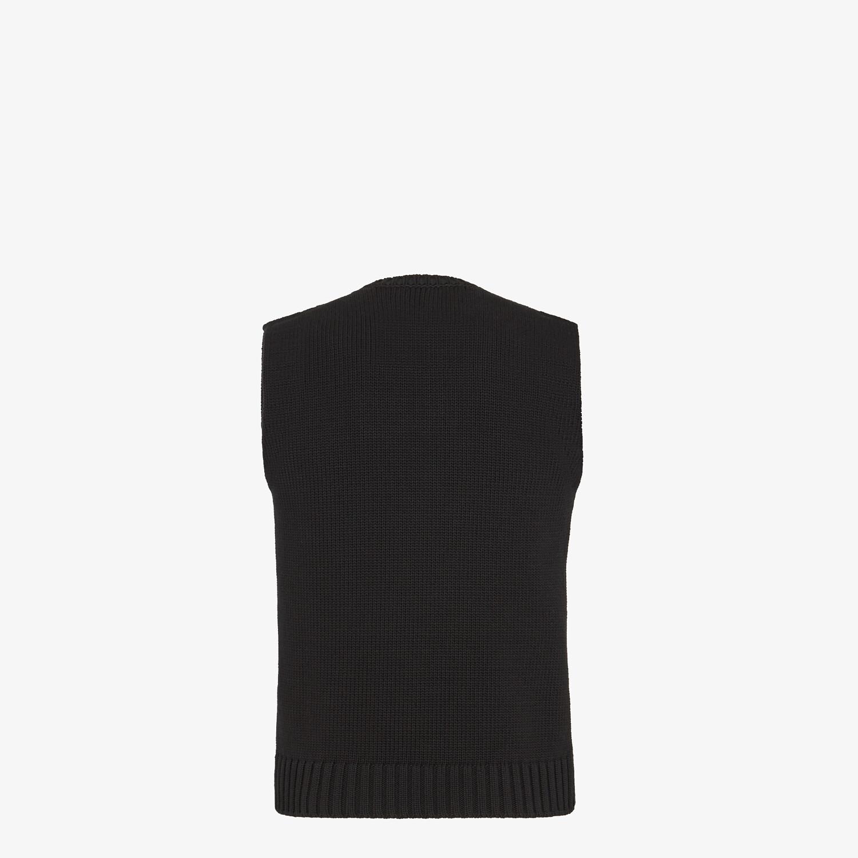 FENDI GILET - Black cotton and silk gilet - view 2 detail