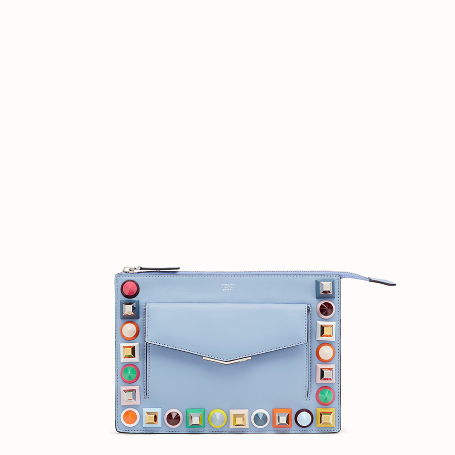 FENDI MINI POUCH - Light blue leather mini-bag - view 1 detail