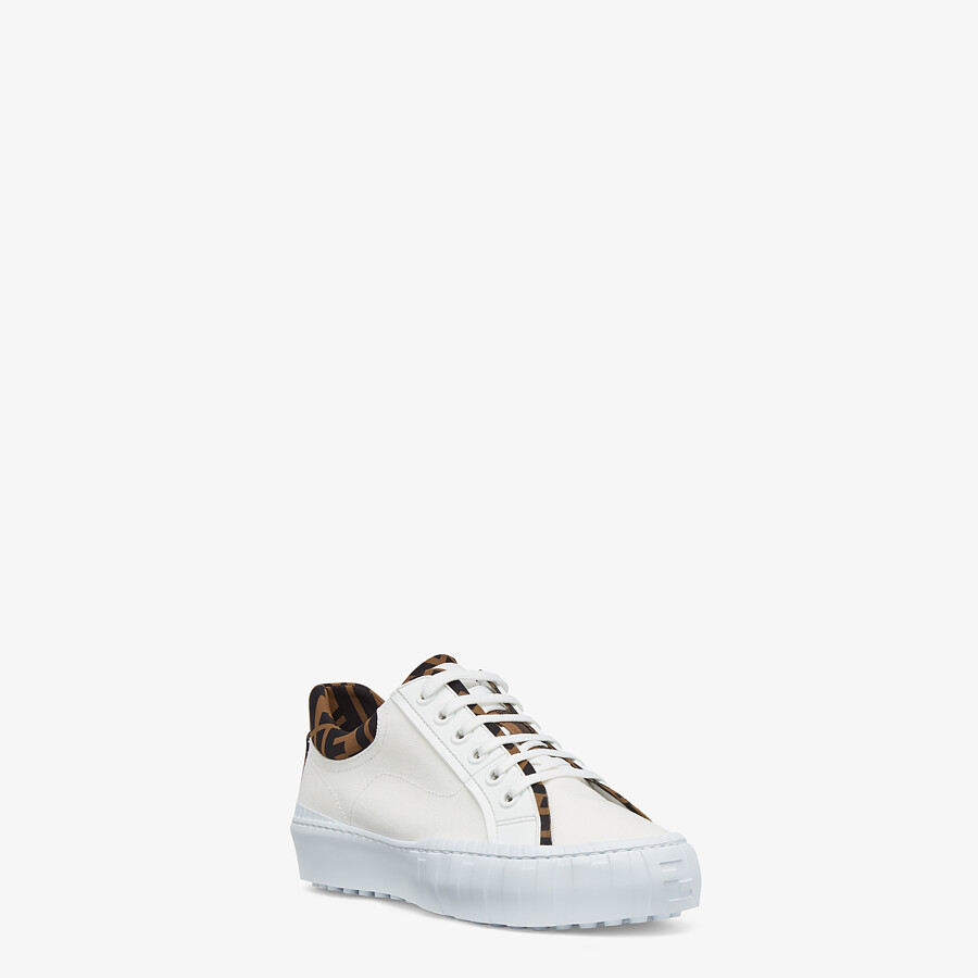 FENDI FENDI FORCE - White canvas and TPU low-tops - view 2 detail
