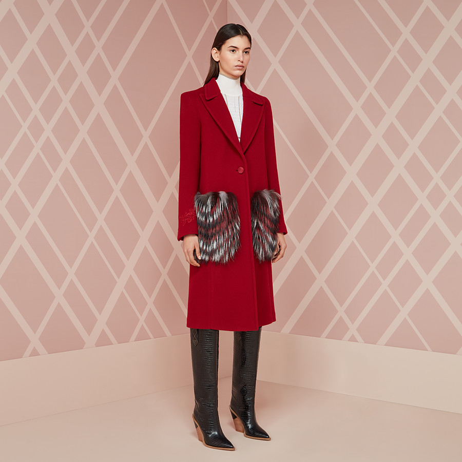 FENDI OVERCOAT - Red wool outerwear - view 4 detail