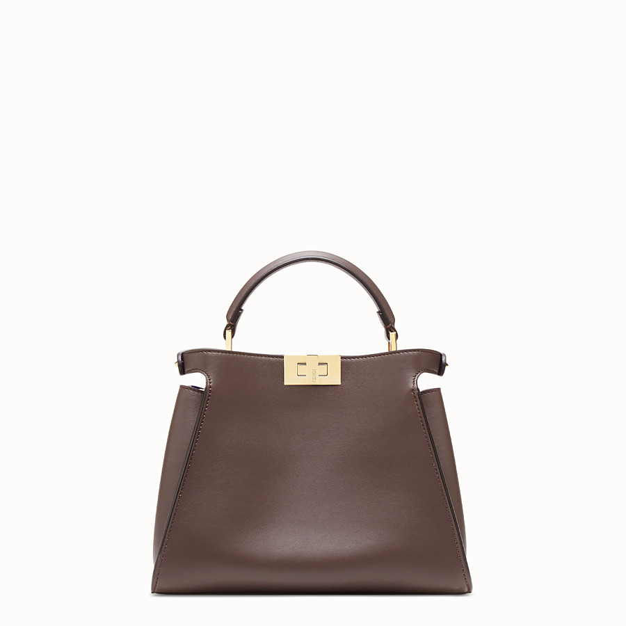FENDI PEEKABOO ICONIC ESSENTIALLY - Tasche aus Leder in Braun - view 4 detail