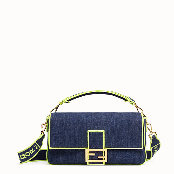 FENDI BAGUETTE LARGE - Blue denim bag - view 1 small thumbnail