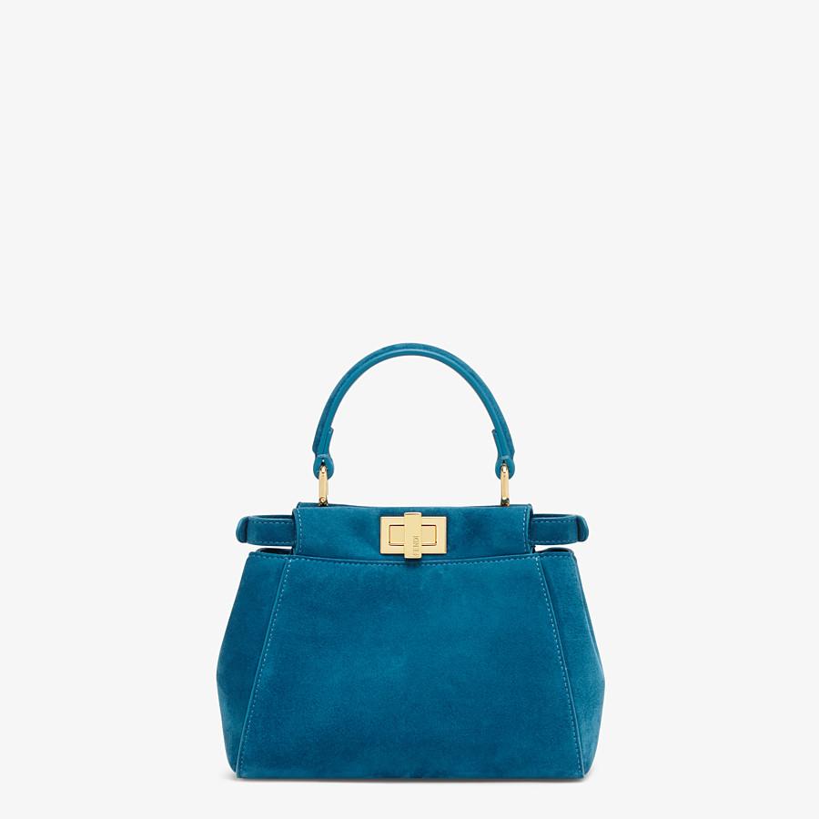 FENDI PEEKABOO ICONIC XS - Mini-Tasche aus blauem Veloursleder - view 4 detail