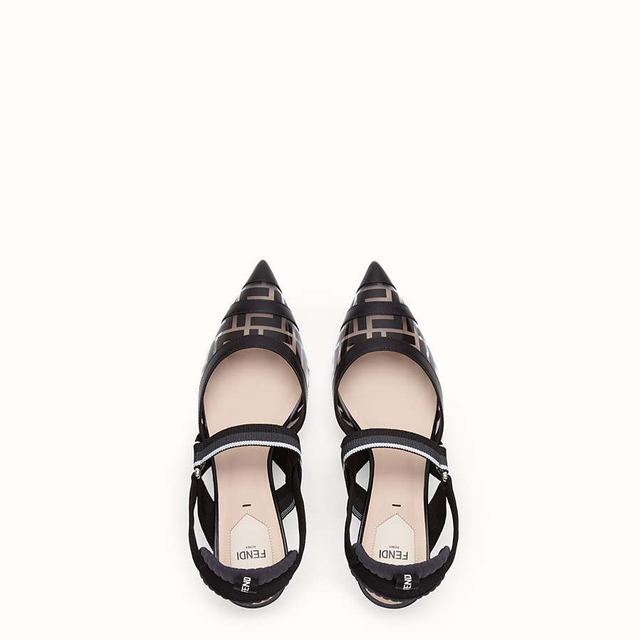 FENDI SLINGBACK - Black leather and PU Colibrì - view 4 detail
