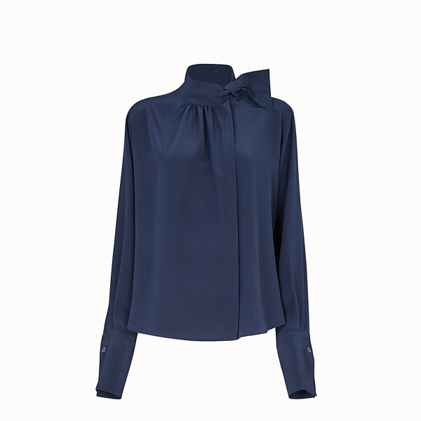 FENDI SHIRT - Blue crêpe de chine blouse - view 1 small thumbnail