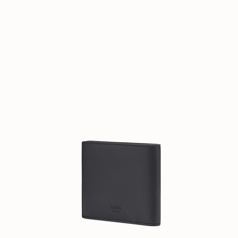 FENDI WALLET - Black leather bi-fold with inlays - view 2 detail
