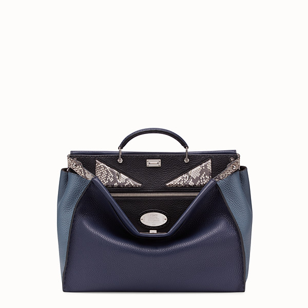 FENDI PEEKABOO REGULAR - Blue Romano leather bag - view 1 small thumbnail