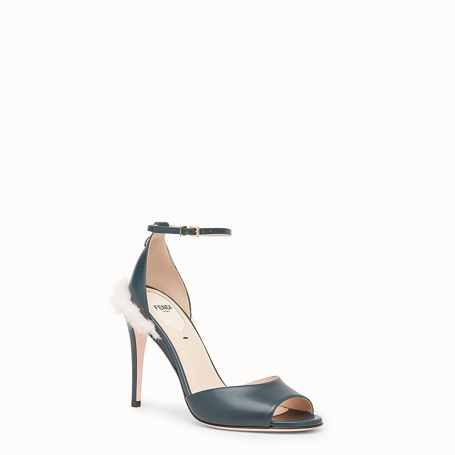 FENDI SANDALS - Green leather high sandals - view 2 detail