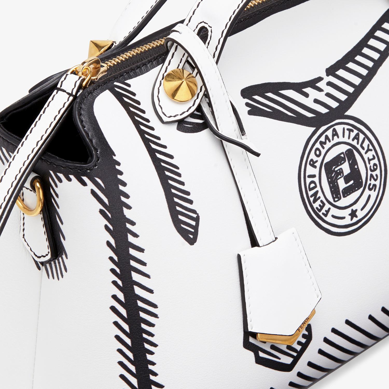 FENDI BY THE WAY MEDIUM - White leather printed Boston bag - view 6 detail
