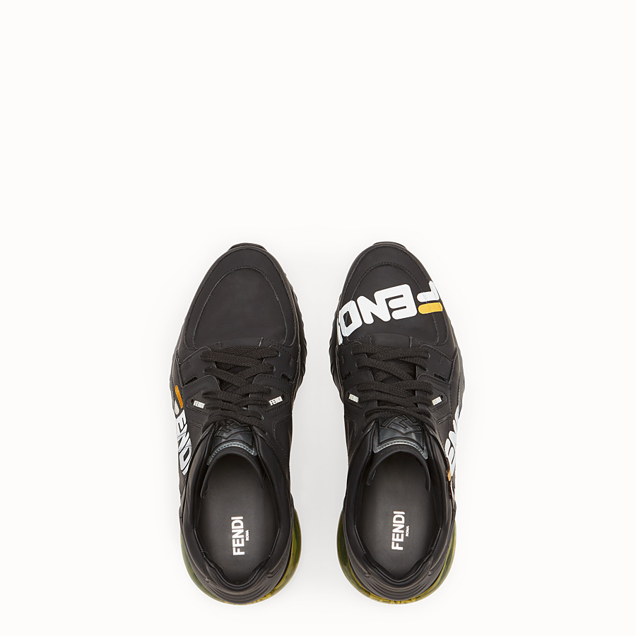 FENDI SNEAKERS - Black nappa leather low tops - view 4 detail