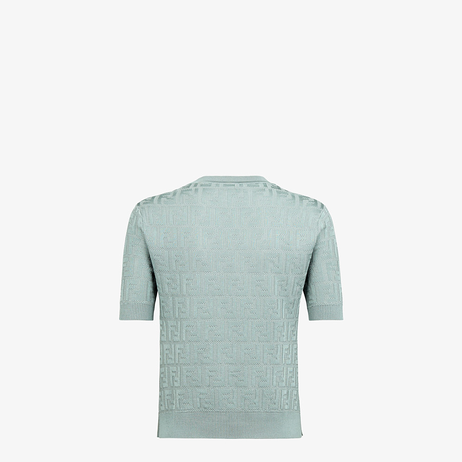 FENDI SWEATER - Light blue cotton and viscose sweater - view 2 detail