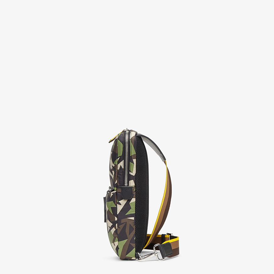 FENDI BACKPACK - Green nylon one-shoulder backpack - view 2 detail