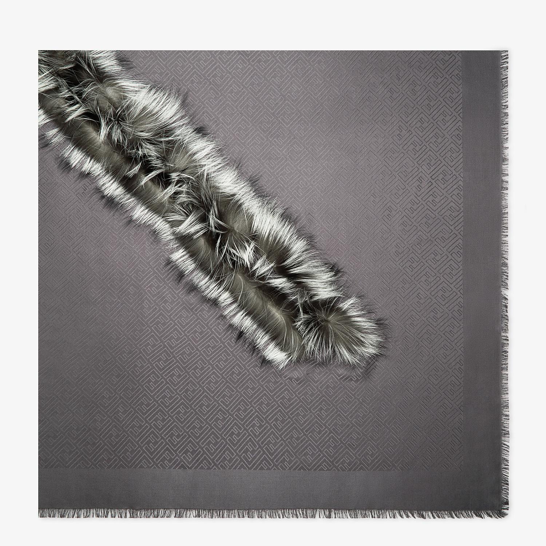 FENDI TOUCH OF FUR SHAWL - Grey silk and wool shawl - view 1 detail