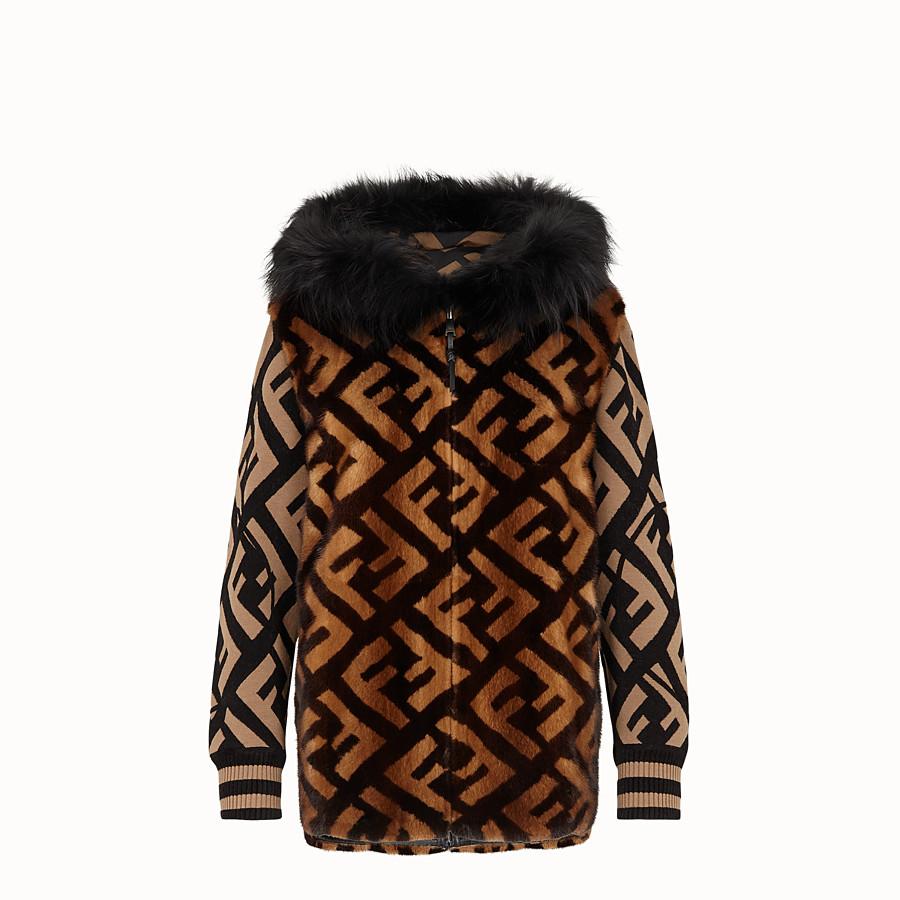 FENDI JACKET - Brown mink and jersey jacket - view 1 detail