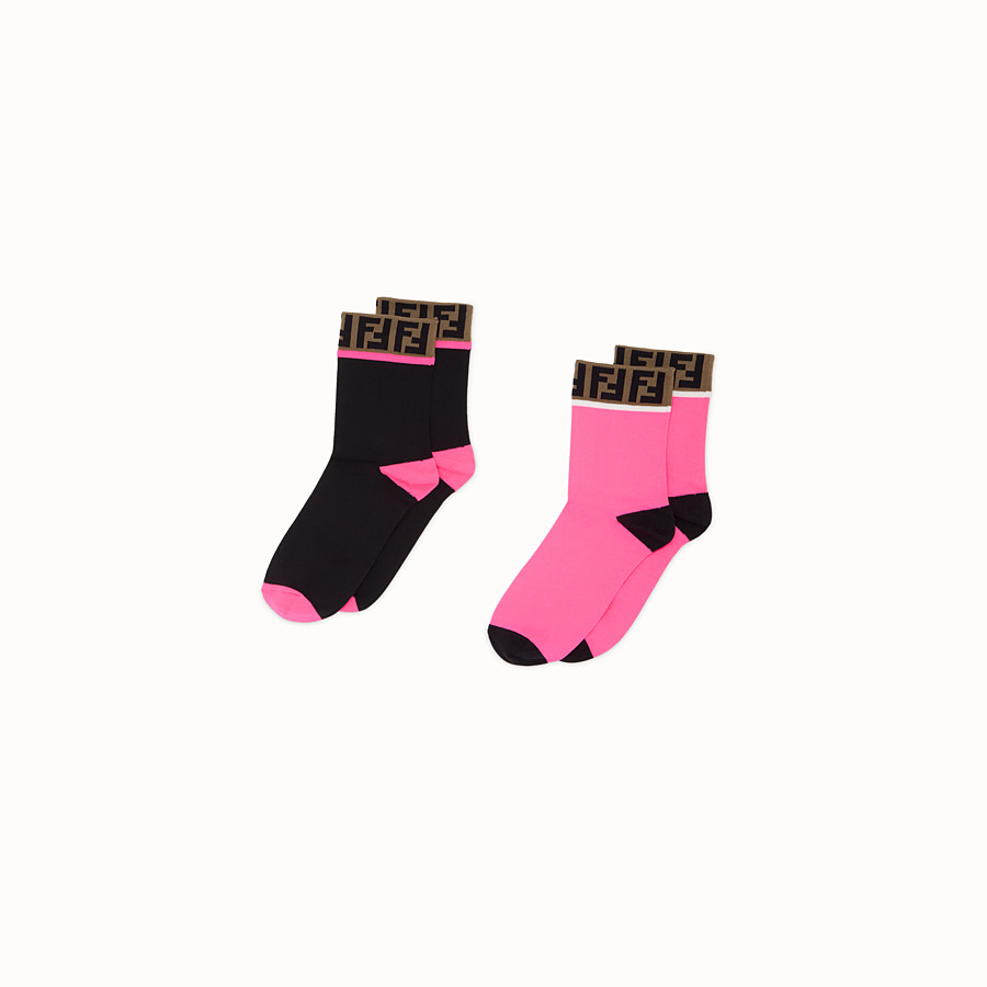 FENDI SOCKS - Pair of pink and black cotton socks - view 1 detail