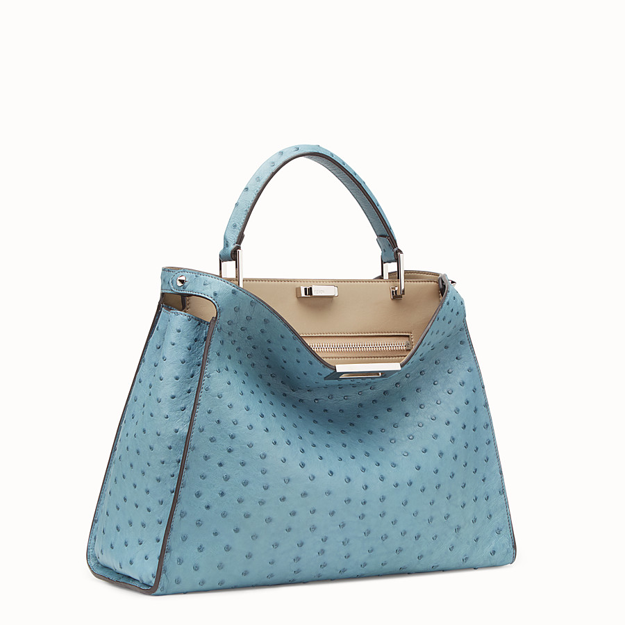 FENDI PEEKABOO ESSENTIAL - Light blue ostrich leather bag - view 2 detail