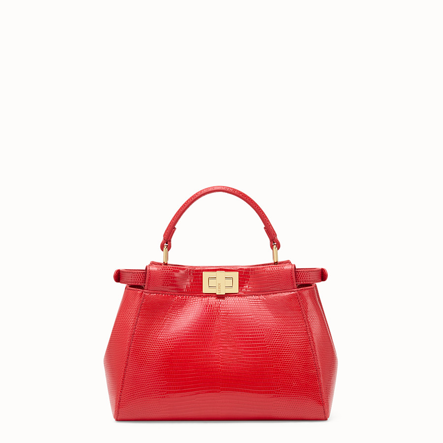 FENDI PEEKABOO MINI - Red lizard bag - view 3 detail