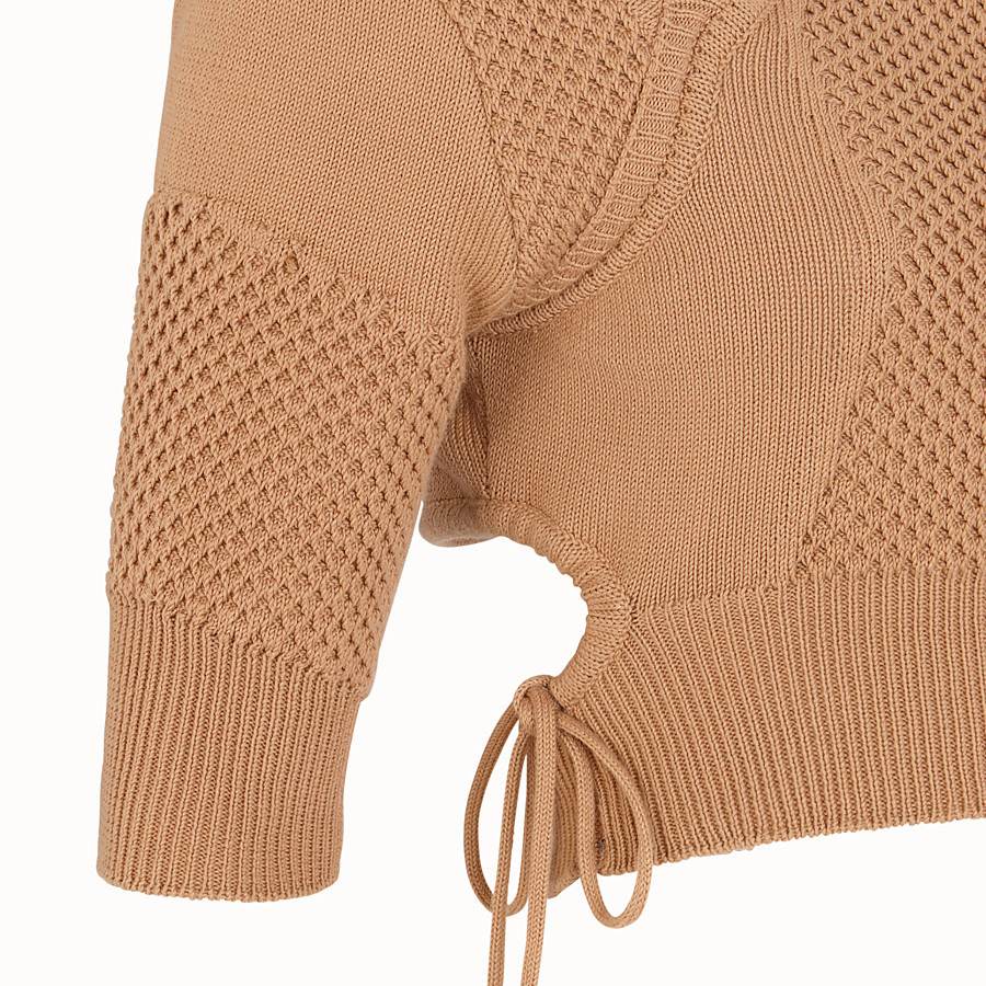 FENDI PULLOVER - Beige cotton pullover - view 3 detail
