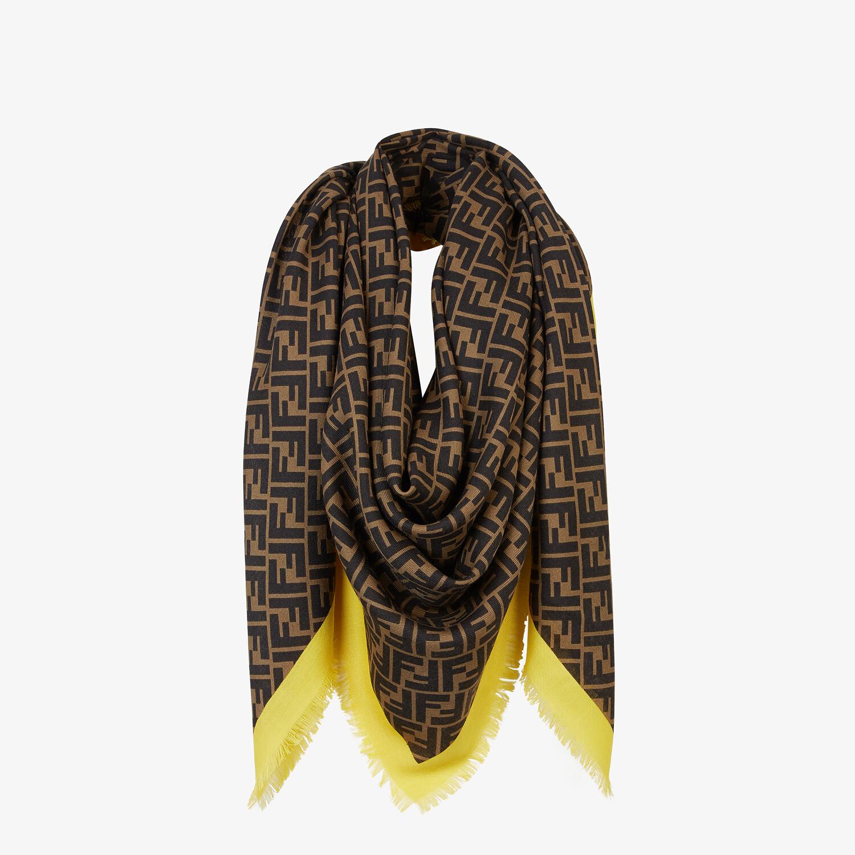 FENDI FENDIRAMA SHAWL - Brown silk shawl - view 2 detail