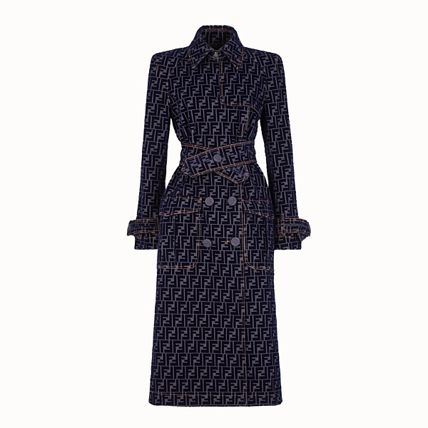 FENDI TRENCH COAT - Blue denim trench coat - view 1 small thumbnail