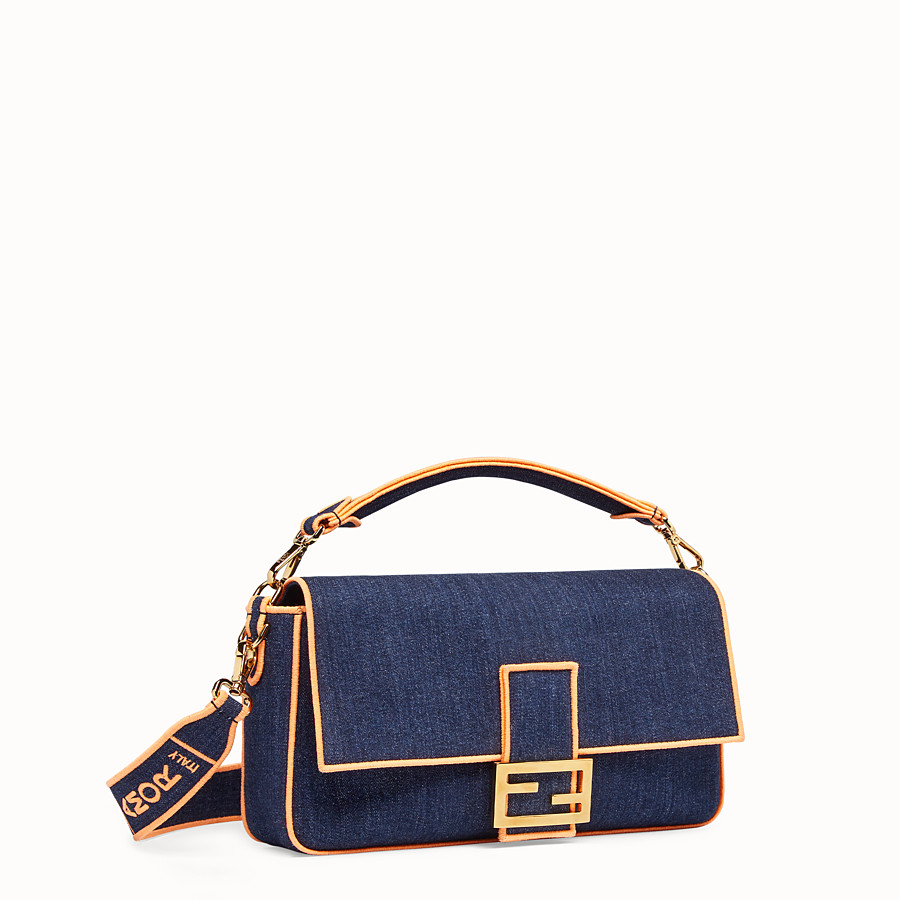 FENDI BAGUETTE LARGE - Sac en denim bleu - view 3 detail