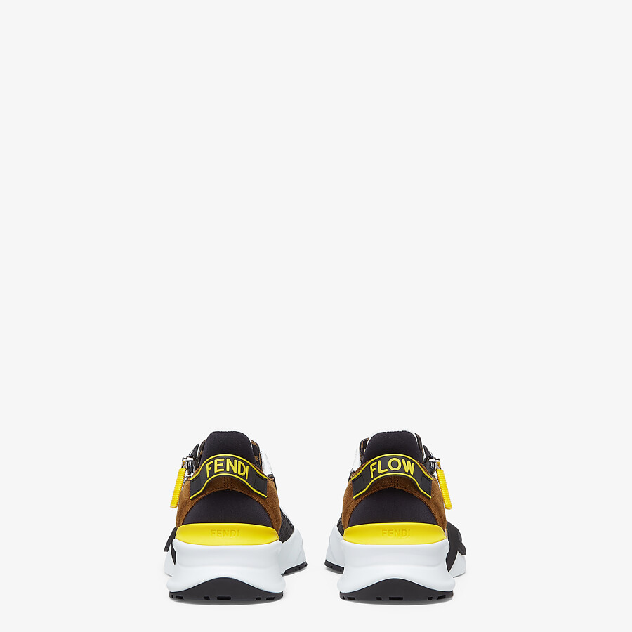 FENDI FENDI FLOW - Yellow nylon and suede low-tops - view 3 detail