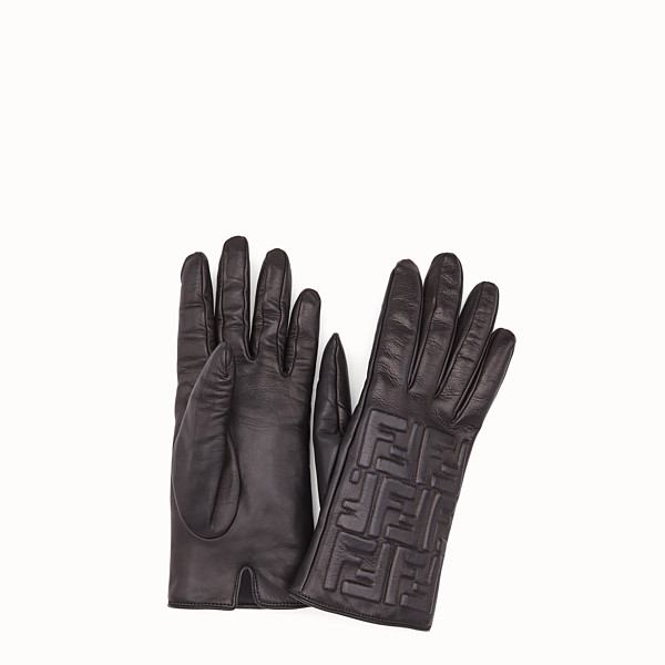 FENDI GLOVES - Gloves in black nappa leather - view 1 small thumbnail