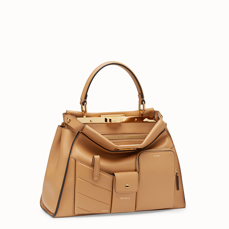FENDI PEEKABOO REGULAR POCKET - Beige leather bag - view 2 detail