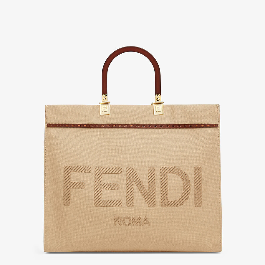 FENDI FENDI SUNSHINE MEDIUM - Beige canvas bag - view 1 detail