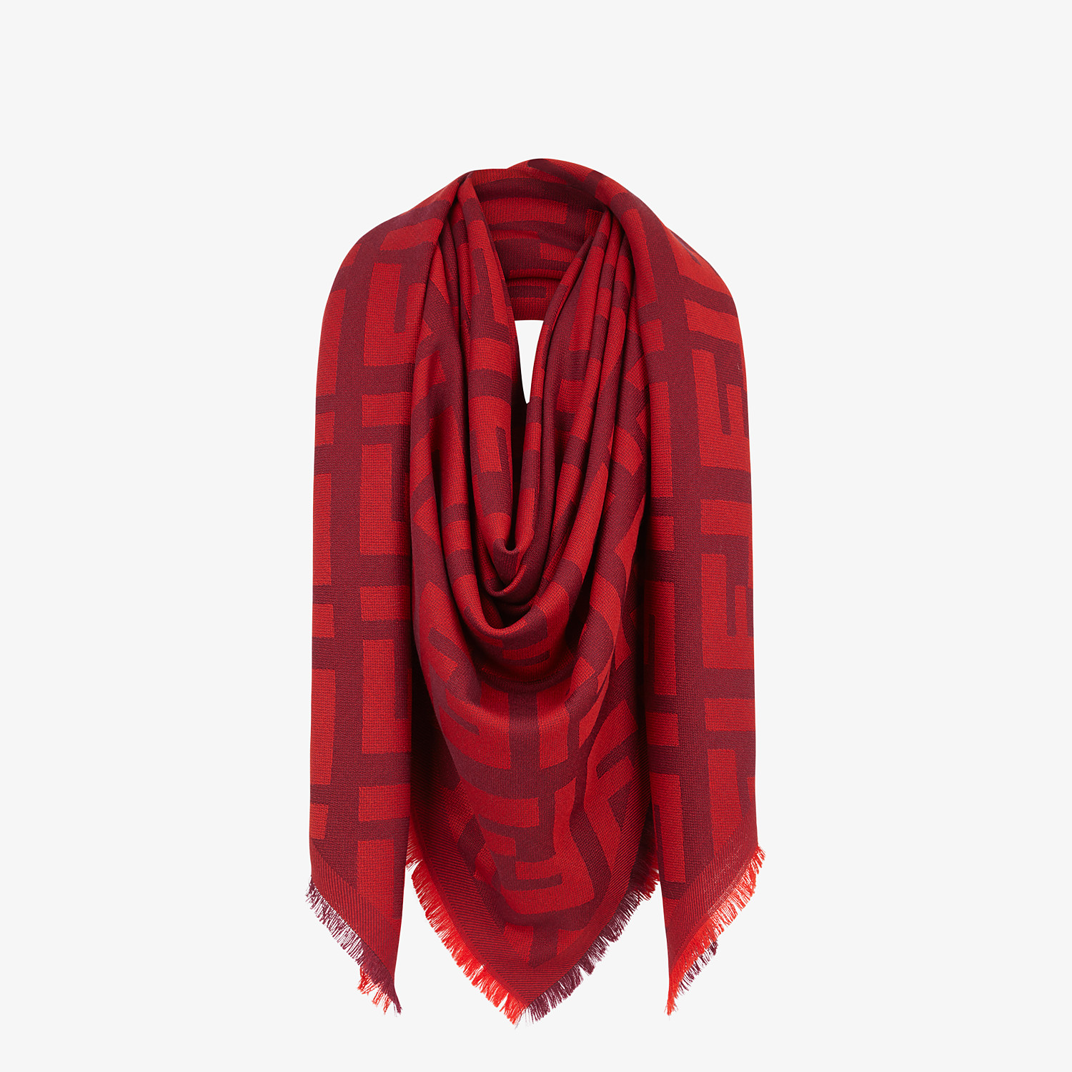 FENDI FF SHAWL - Red wool and cashmere shawl - view 2 detail
