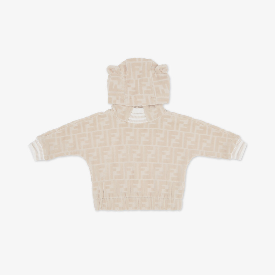 FENDI BABY SWEATSHIRT - Beige chenille baby sweatshirt - view 1 detail