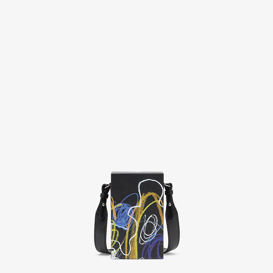 FENDI VERTICAL BOX - Leather bag with multicolor print - view 3 detail