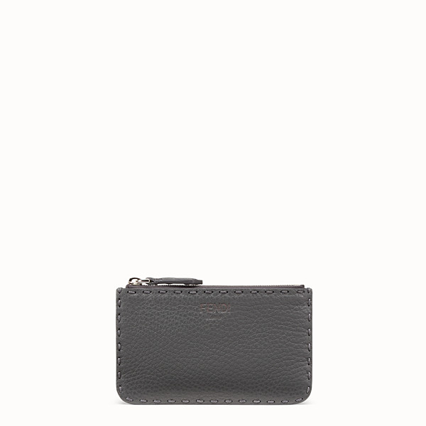 FENDI KEY RING - Grey leather pouch - view 1 small thumbnail
