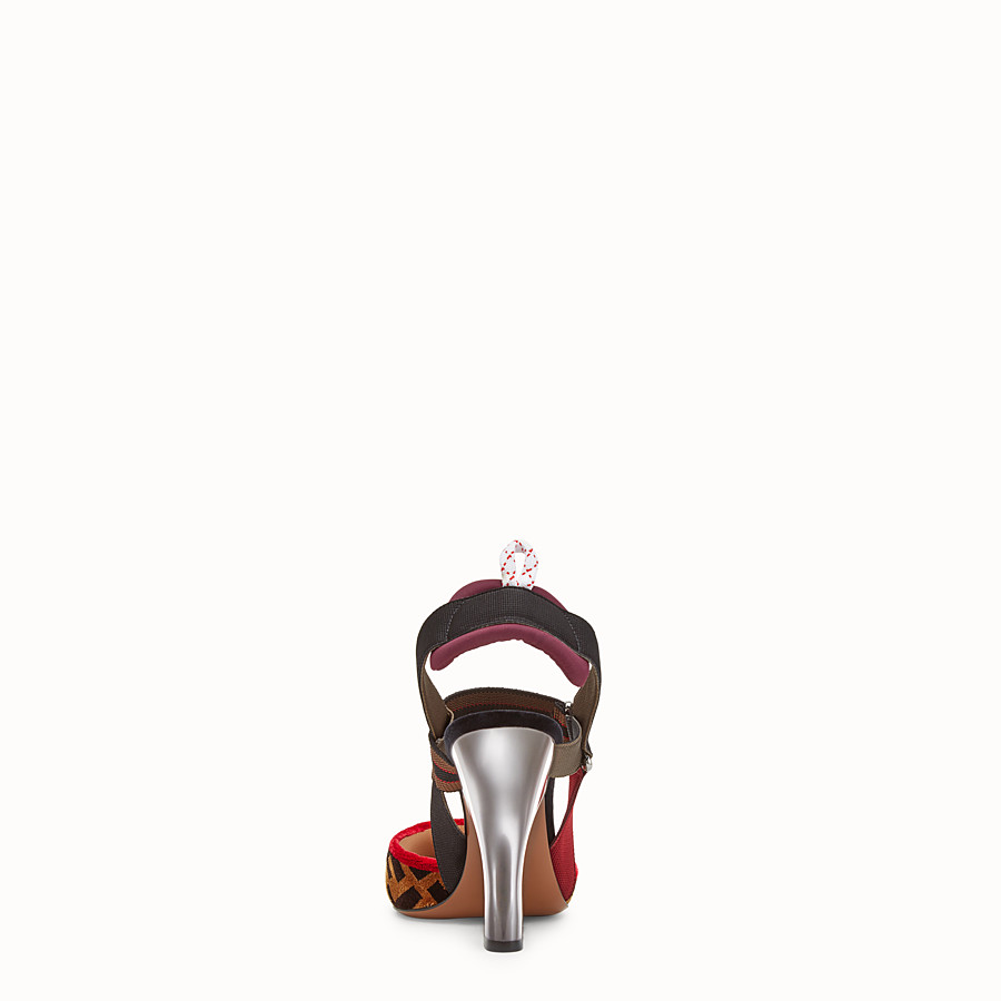 FENDI COURT SHOES - Multicolour fabric slingbacks - view 3 detail