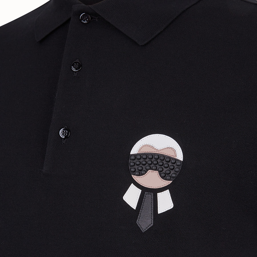 FENDI POLO SHIRT - Black cotton jumper - view 3 detail