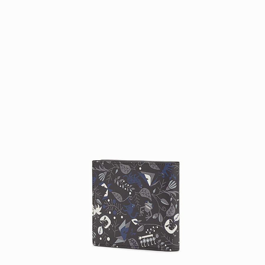 FENDI WALLET - Printed black leather bi-fold - view 2 detail