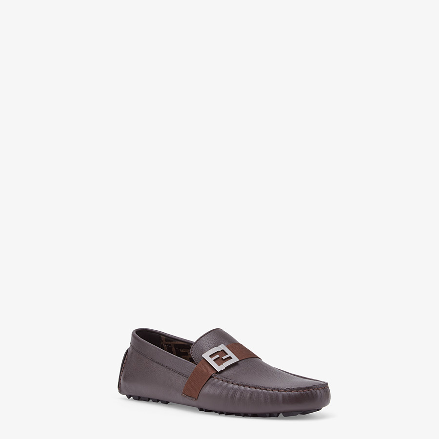 FENDI LOAFERS - Brown leather drivers - view 2 detail