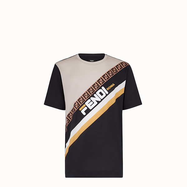 FENDI T-SHIRT - Multicolored cotton jersey T-shirt - view 1 small thumbnail