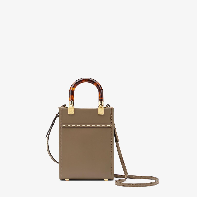 FENDI MINI SUNSHINE SHOPPER - Gray leather and elaphe mini-bag - view 4 detail
