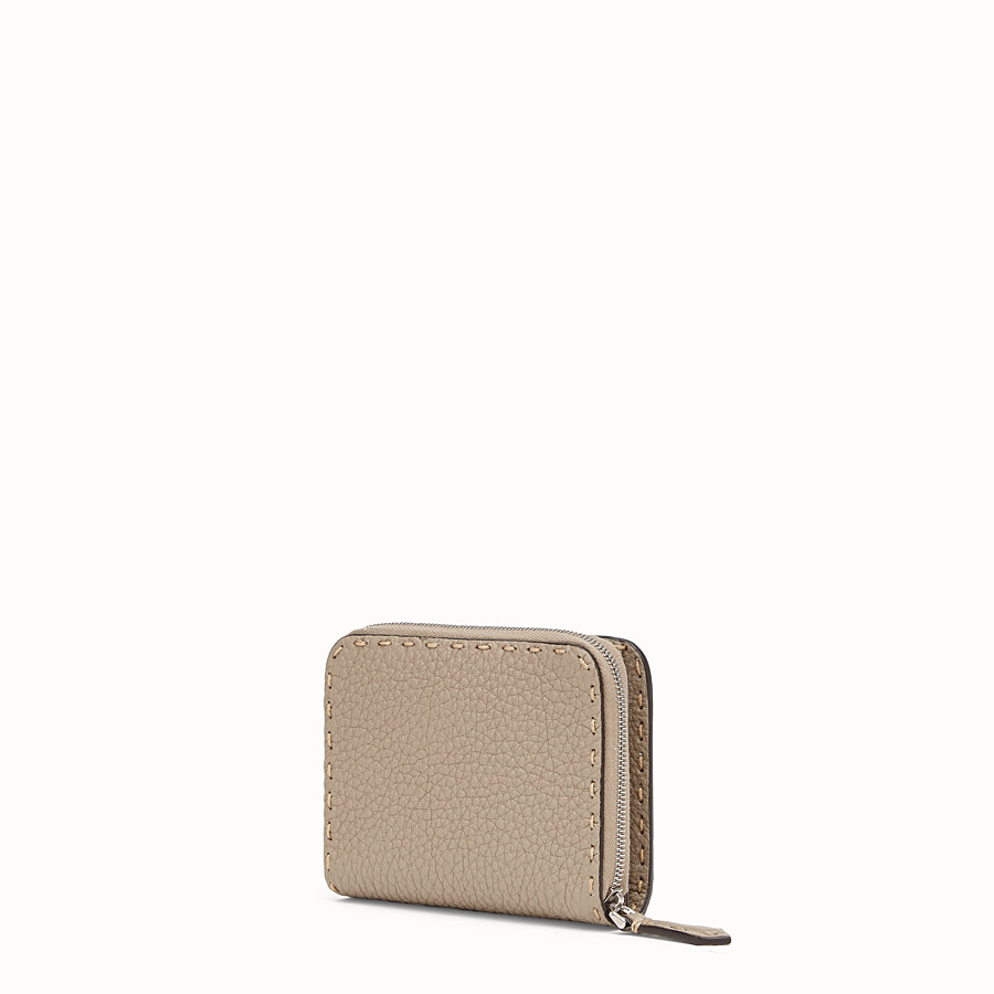 FENDI MEDIUM ZIP-AROUND - Beige leather wallet - view 2 detail