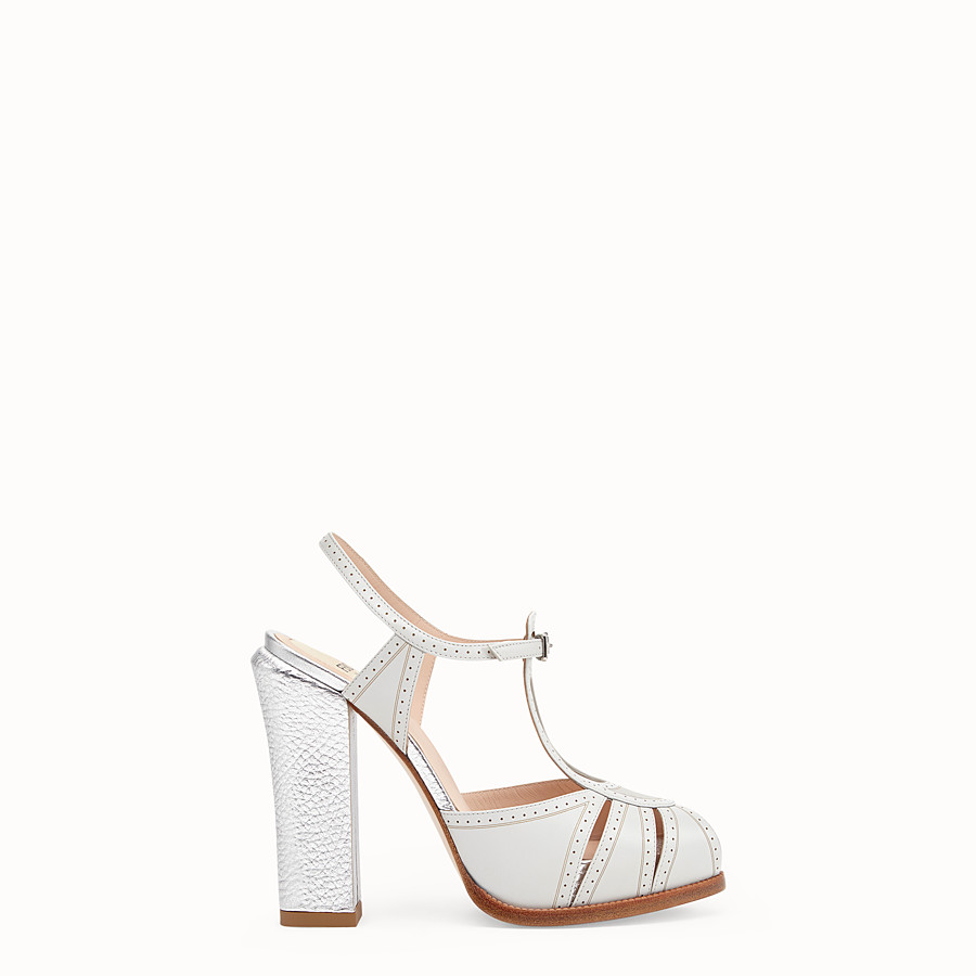 FENDI SANDALS - Gray leather sandals - view 1 detail