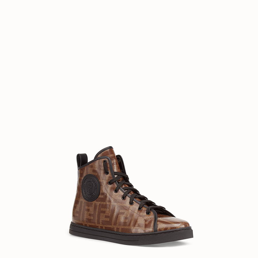 FENDI SNEAKERS - Multicolour fabric high-tops - view 2 detail
