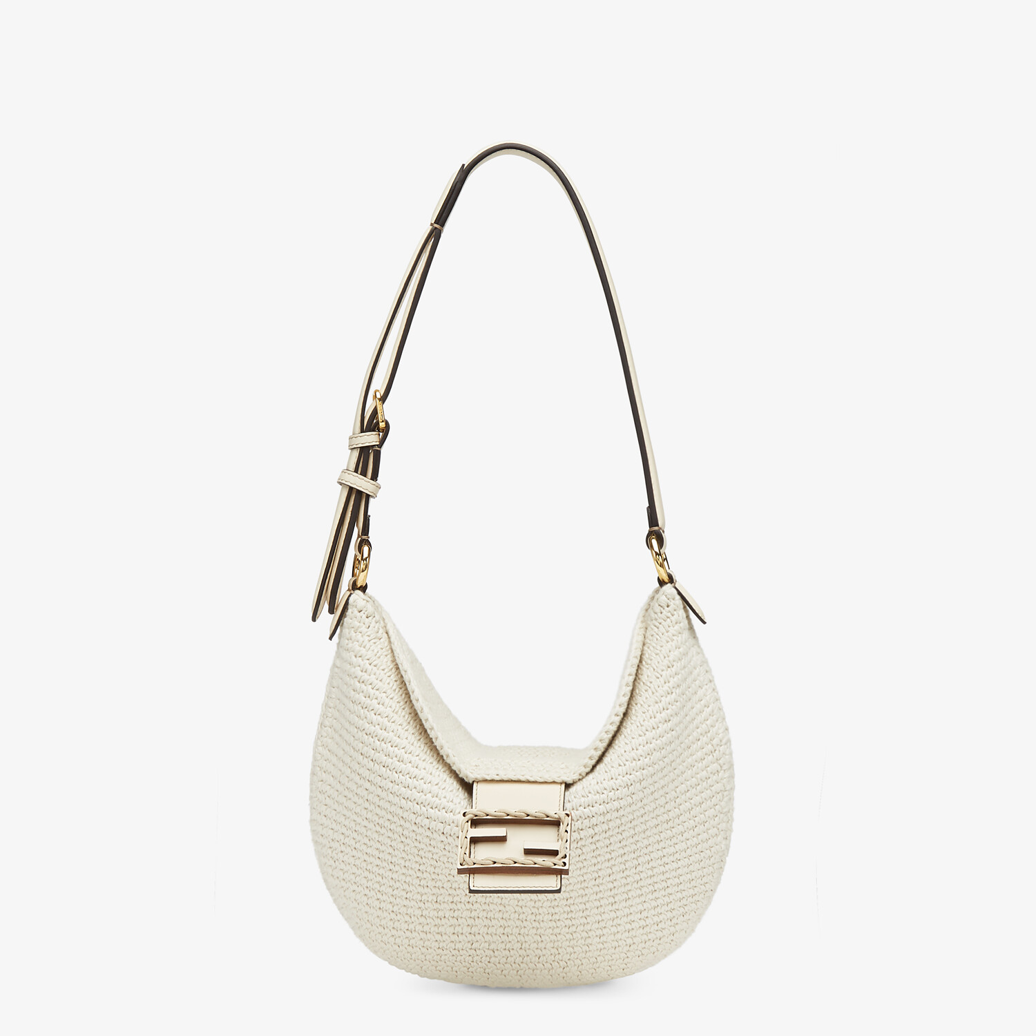 FENDI SMALL CROISSANT - White cotton bag - view 1 detail