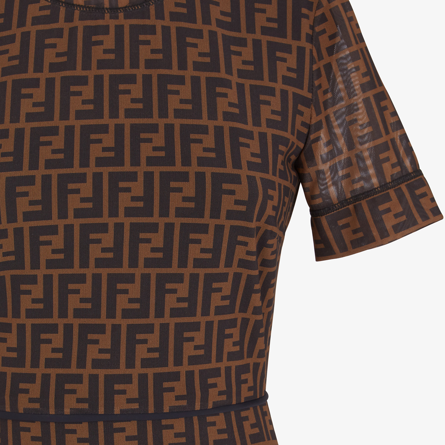 FENDI DRESS - Brown micro mesh dress - view 3 detail
