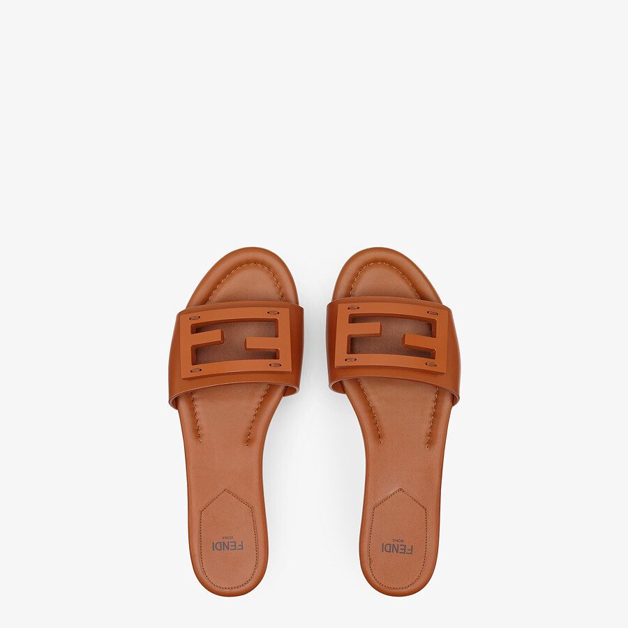 FENDI SIGNATURE - Brown leather slides - view 4 detail