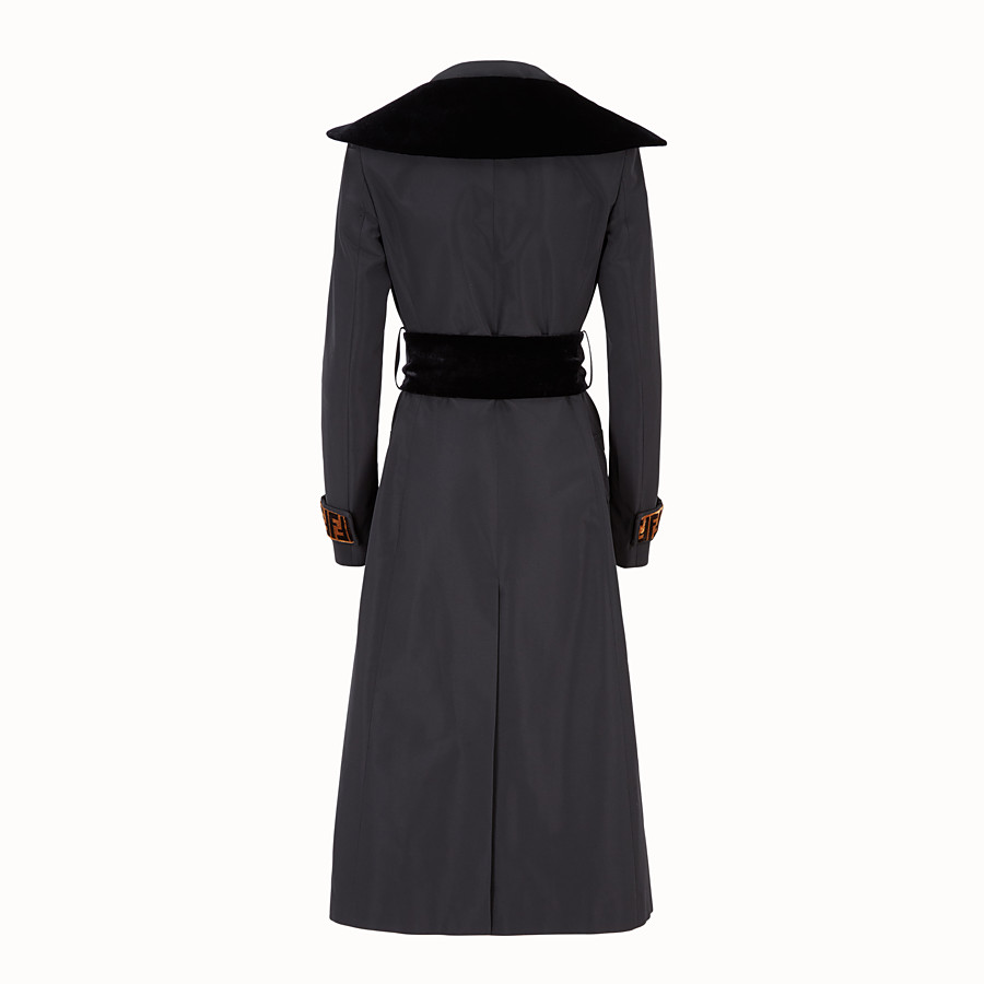 FENDI COAT - Black fabric trench coat - view 2 detail