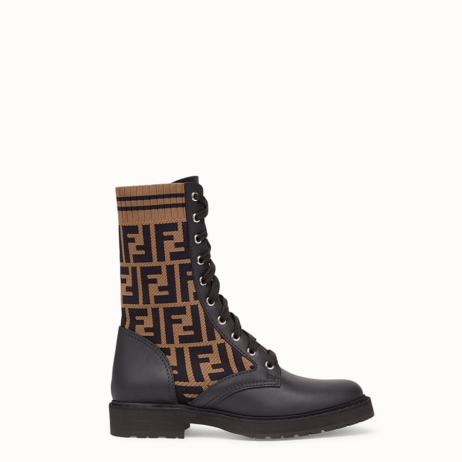 FENDI ANKLE BOOTS - Black leather biker boots - view 1 detail