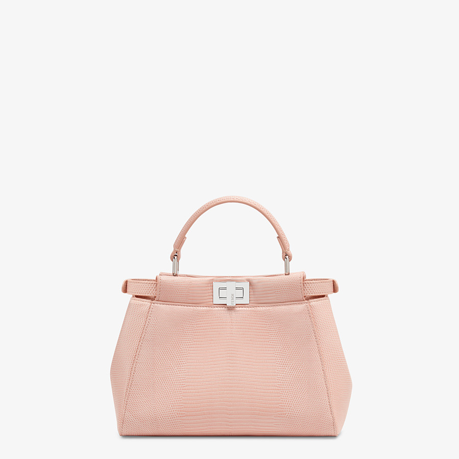 FENDI PEEKABOO ICONIC MINI - Pink lizard leather bag - view 3 detail