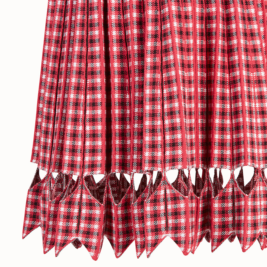 FENDI DRESS - Red checked fabric dress - view 3 detail