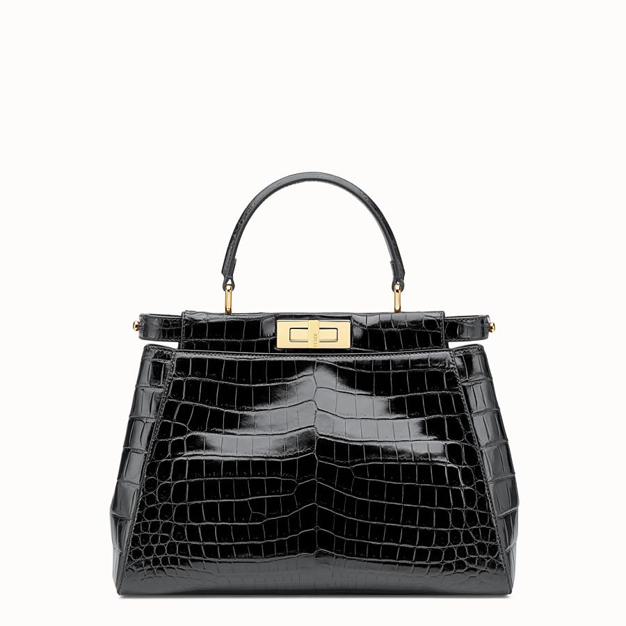 e66d86c66516 Black crocodile leather handbag. - PEEKABOO REGULAR
